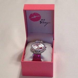 New In Box Betsey Johnson Pink Glitter Cuff Watch